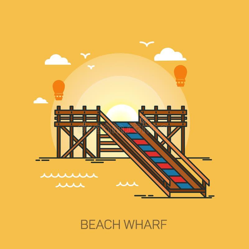 Nabrzeże, quay, molo lub drewniany dok na plaży, ilustracji