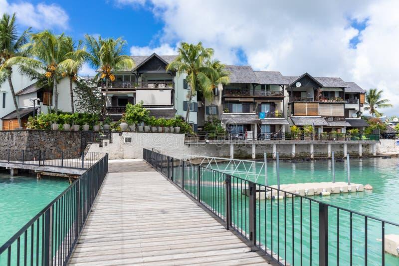 Nabrzeżna wioska Uroczysty Baie, Mauritius, Afryka obraz royalty free