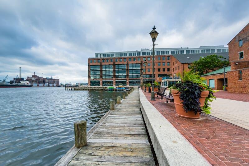 Nabrze?e deptak wewn?trz Powala? punkt, Baltimore, Maryland zdjęcie royalty free