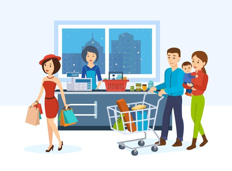Nabywcy, iść wokoło sklepu nabywać towary po to, aby ilustracji