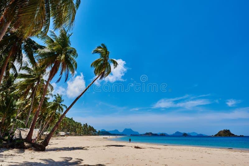 Nacapan海滩El Nido巴拉望岛菲律宾 图库摄影