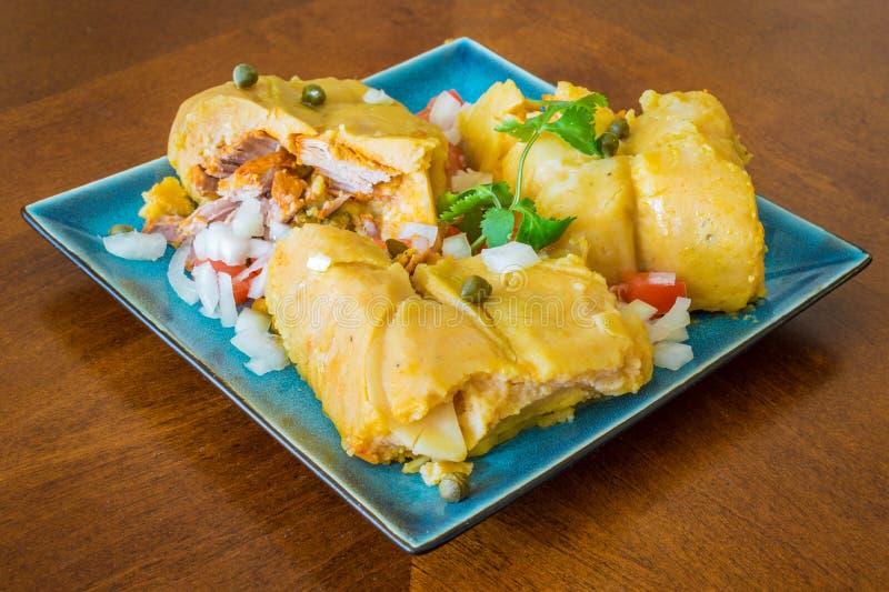 Nacatamal or tamal, a dish from Latin America stock photo