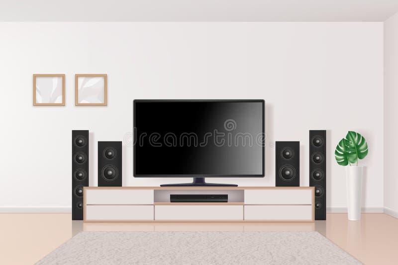 Nach der Keller-Umgestaltung Fernsehersystem im großen modernen Multimediasystemausgangsinnentheater im Wohnzimmervektor realisti vektor abbildung