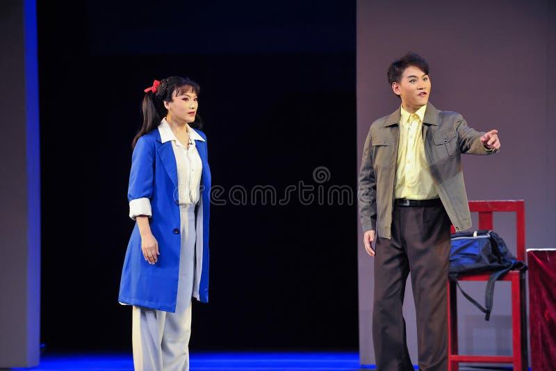 Nach der Kulturrevolution der Mantel Schauspieler Dialogjiangxis OperaBlue lizenzfreie stockbilder