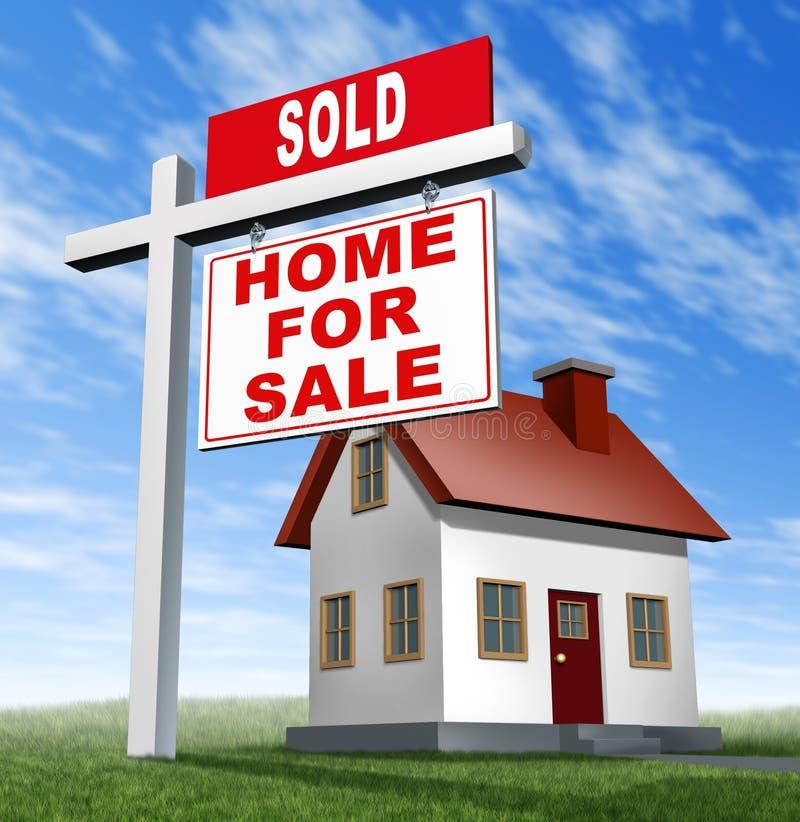 Nach Hause verkauft für Verkaufs-Zeichen und Haus stock abbildung