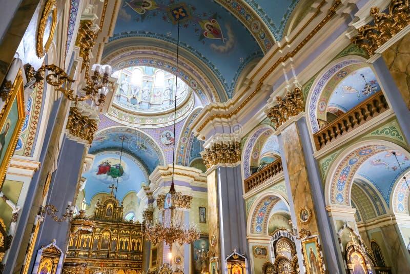 Nach innen von der Transfigurations-Kirche in Lemberg stockfoto