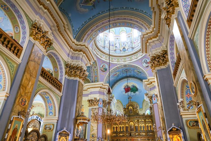 Nach innen von der Transfigurations-Kirche in Lemberg stockbild