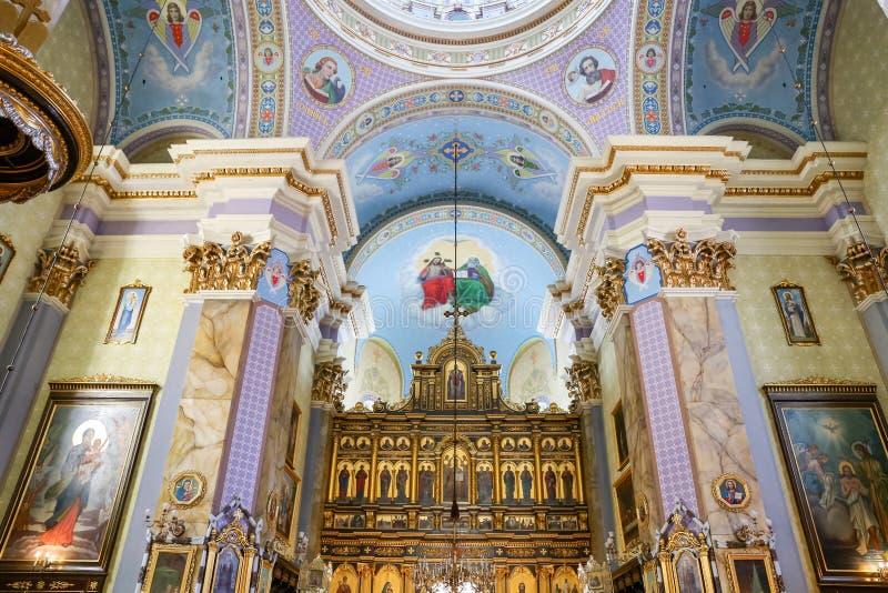 Nach innen von der Transfigurations-Kirche in Lemberg stockfotos
