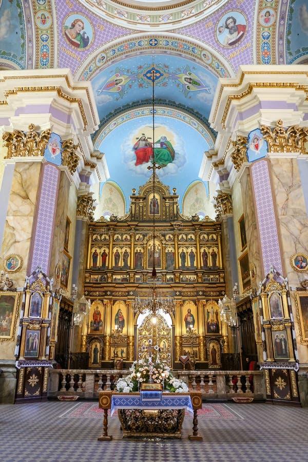 Nach innen von der Transfigurations-Kirche in Lemberg lizenzfreie stockfotografie