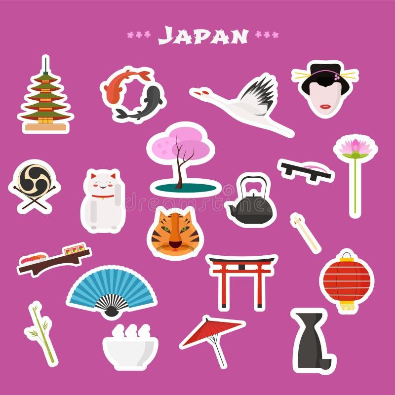 Nach reisen die eingestellten Japan, Tokyo Vektorikonen vektor abbildung