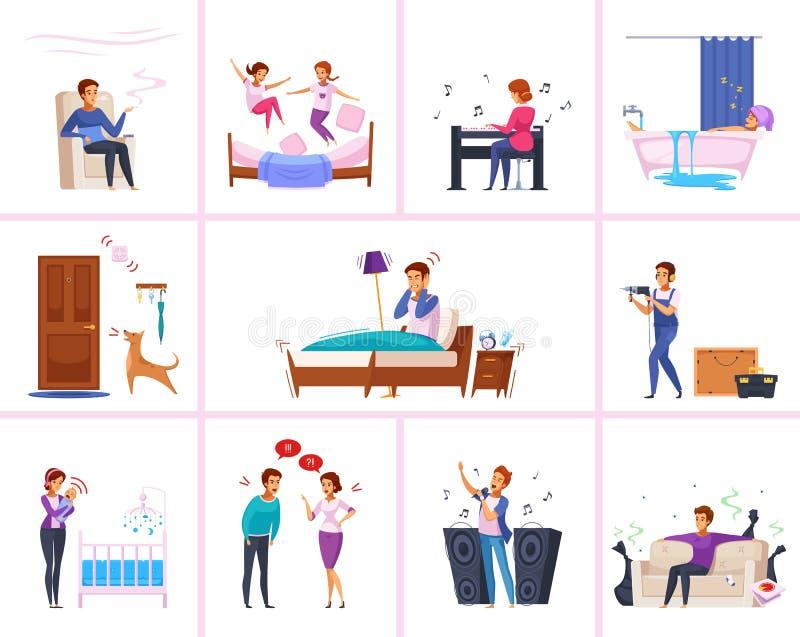 Nachbar-Beziehungs-Zeichentrickfilm-Figuren vektor abbildung