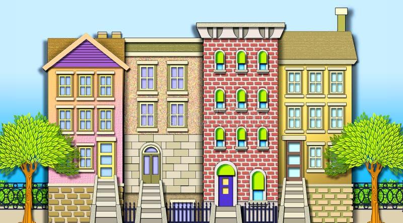 Nachbarschafts-Reihen-Häuser stock abbildung