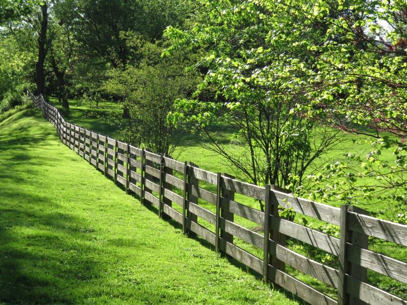 Nachbarschafts-Zaun During Spring im April lizenzfreies stockfoto