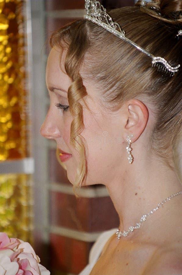 Nachdenkliche Braut stockfotografie