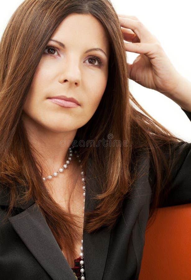 Nachdenkliche Geschäftsfrau stockbilder