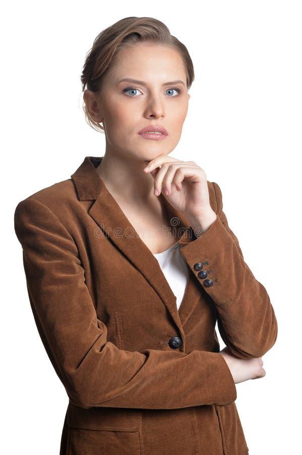 Nachdenkliche junge Frau lokalisiert auf weißem Hintergrund lizenzfreies stockbild