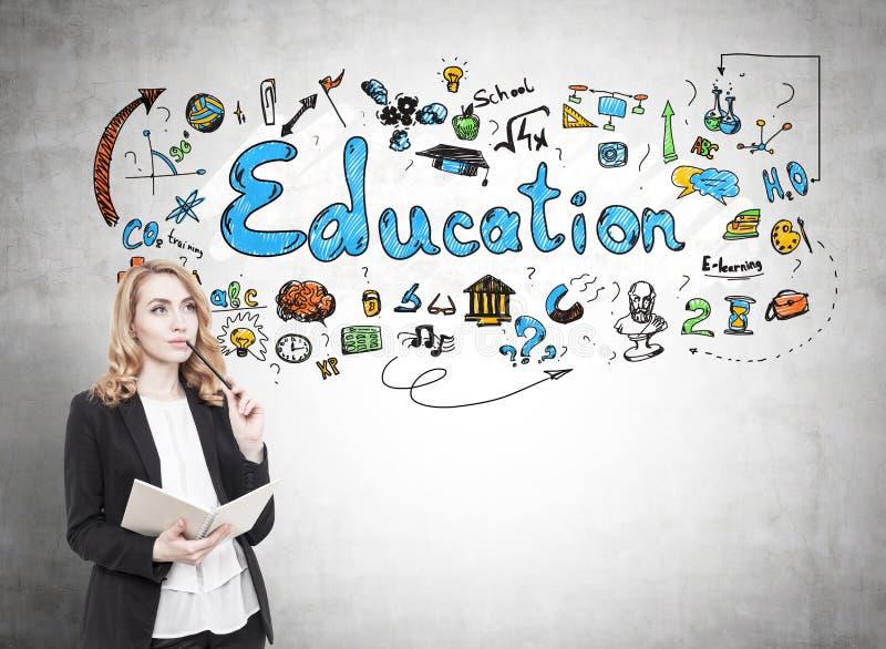 Nachdenkliche rote behaarte Frau und Bildung lizenzfreies stockbild