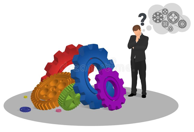 Nachdenklicher Geschäftsmann, der Boden mit bunten Gangmechanismen betrachtet und versucht, herauszufinden, wie man ihn arbeiten lizenzfreie abbildung