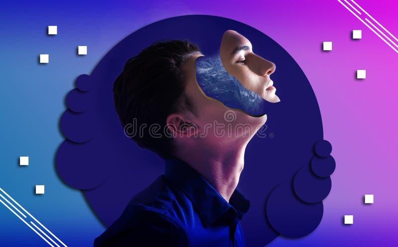 Nachdenklicher kreativer Kerl, der Inspiration auf Hintergrund sucht stock abbildung