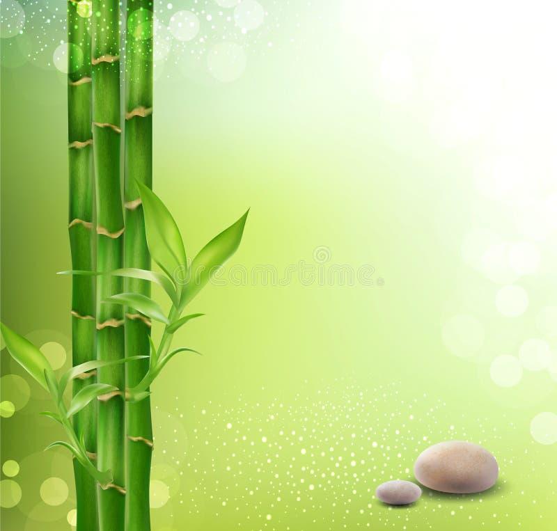 Nachdenklicher, orientalischer Hintergrund mit Bambus stock abbildung