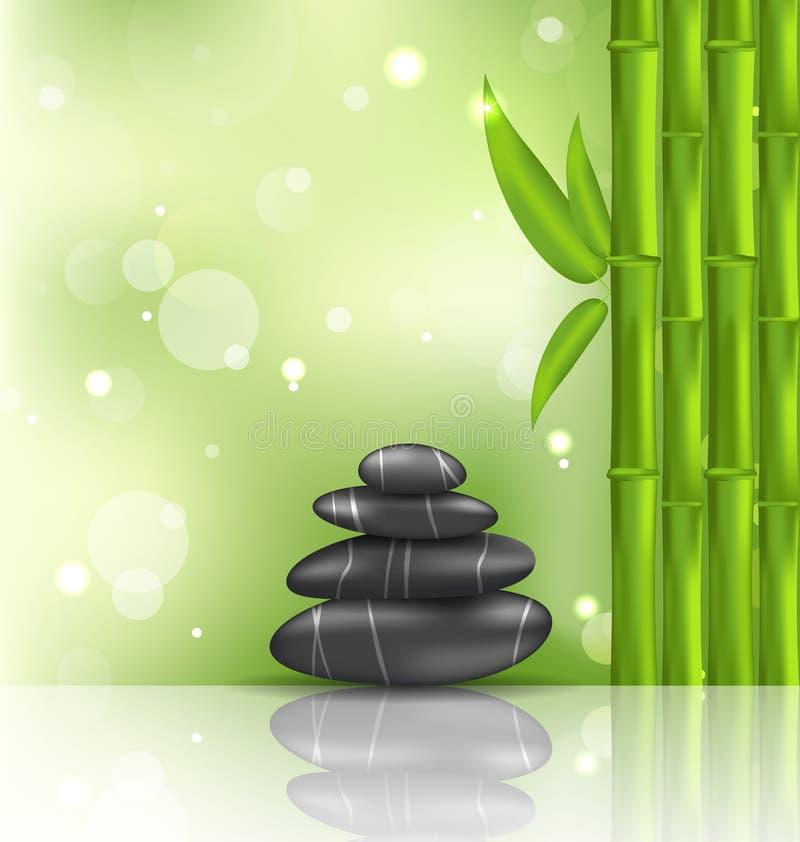 Nachdenklicher orientalischer Hintergrund mit Bambus- und Haufensteinen, Badekurort lizenzfreie abbildung