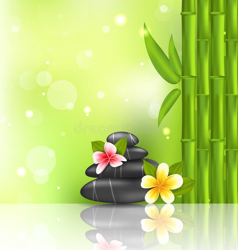 Nachdenklicher orientalischer Hintergrund mit Frangipani, Bambus und Haufen stock abbildung