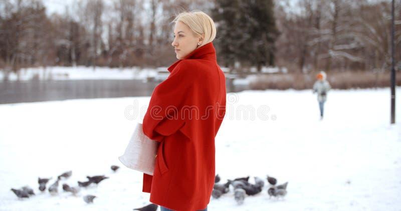 Nachdenkliches junges Mädchen, das Winter in einem Stadtpark genießt stockbilder