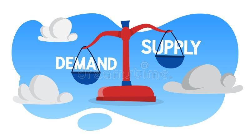 Nachfrage und Angebot auf der Skalaillustration lizenzfreie abbildung