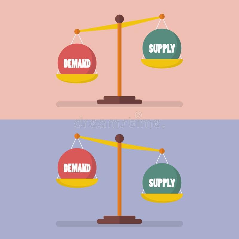 Nachfrage und Versorgungsbilanz auf der Skala stock abbildung