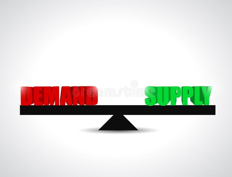 Nachfrage- und Versorgungsbilanzillustrationsdesign stock abbildung