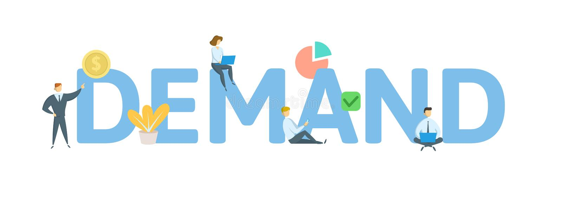 NACHFRAGE-Wort-Konzeptfahne Konzept mit Leuten, Buchstaben und Ikonen Flache Vektorillustration Lokalisiert auf Weiß stock abbildung