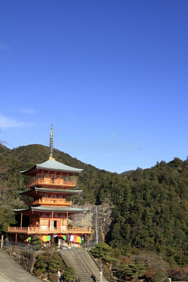 Nachi秋天和Seiganto ji三层的塔  免版税库存图片