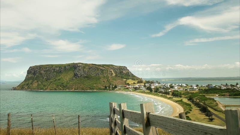 Nachmittag geschossen von der Nuss und von einem Bretterzaun bei Stanley, Tasmanien stockfoto