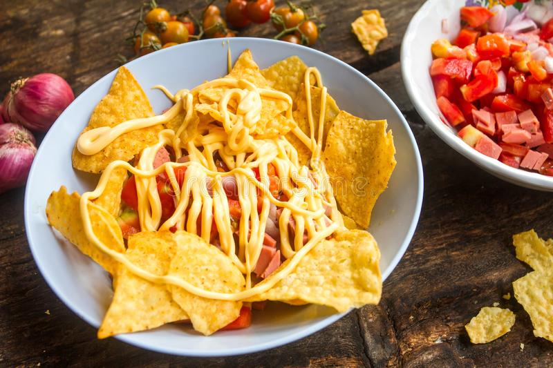 Nacho cheeese as snacks cooked easily suitable for eating with beer or wine. Nacho cheese as appetizers, cook easily stock photos
