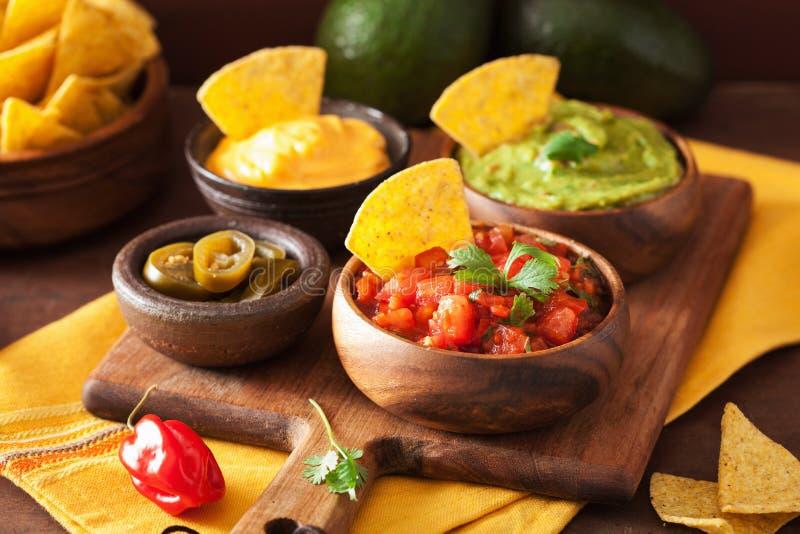 Nacho messicani con la immersione del guacamole, della salsa e di formaggio fotografia stock