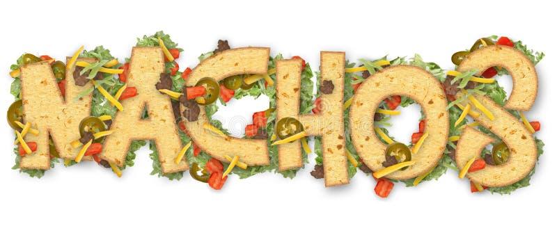 Nacho Party Fun Art. Nacho Nachos Party fun art logo chips tomatoes lettuce jalapeno look image food stock photos