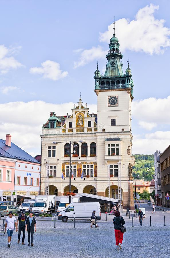 NACHOD, CZECH REPUBLIC - July 13, 2017: Town hall in the city near the Polish border. Picture taken on a sunny day stock photography