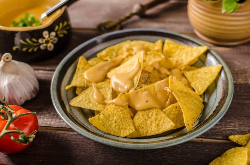 Nachos avec l'immersion de fromage faite maison photo stock