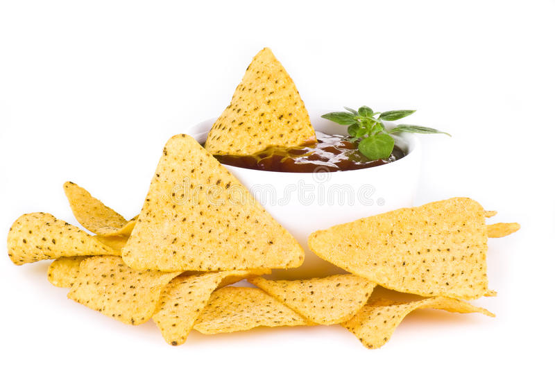 Nachos And Barbecue Sauce Royalty Free Stock Images