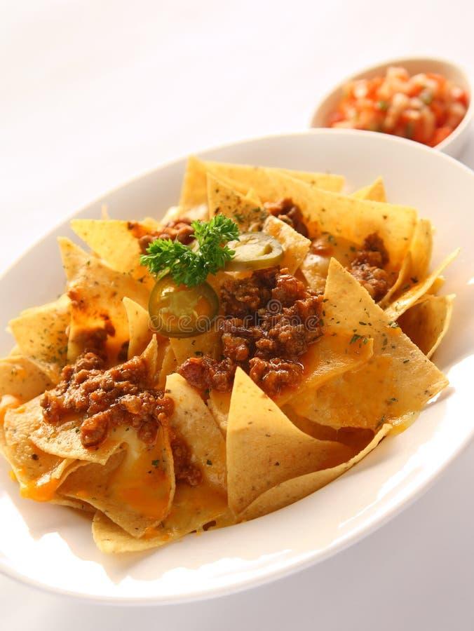 Nachos com carne & queijo imagens de stock