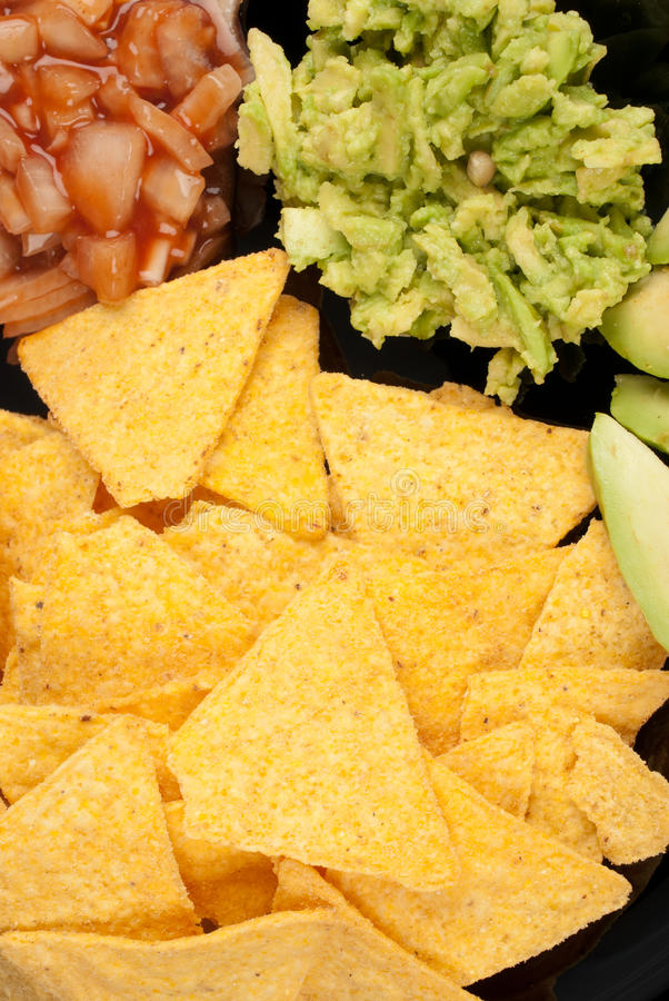 Nachos and dips royalty free stock photography