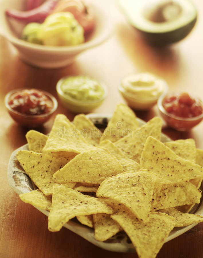 Nachos With Dips Stock Photography