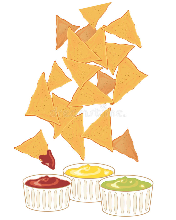 Nachos with dips royalty free illustration