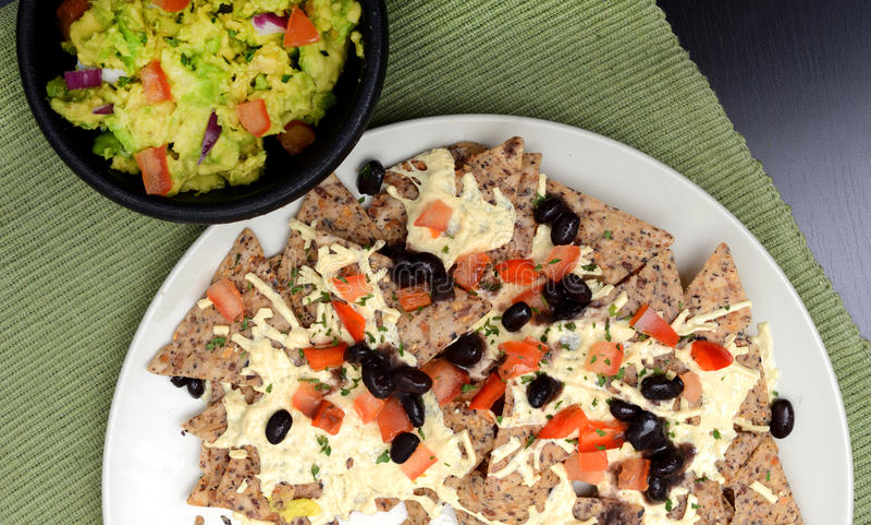 Nachos e guacamole do vegetariano foto de stock