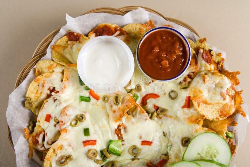 Nachos en salsa royalty-vrije stock foto's