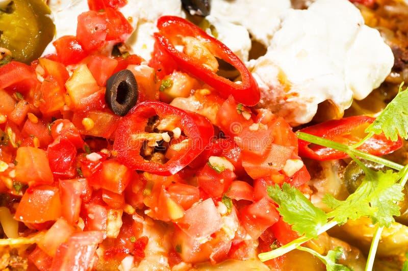 Nachos frescos y ensalada vegetal con la carne foto de archivo libre de regalías