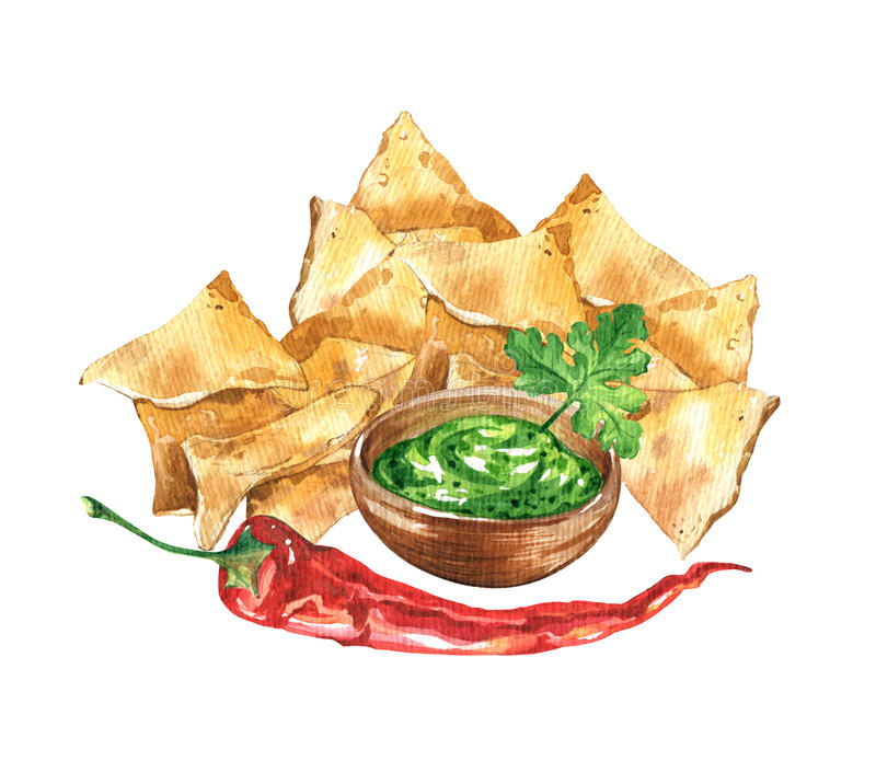 Nachos and guacamole. Mexican national food royalty free illustration