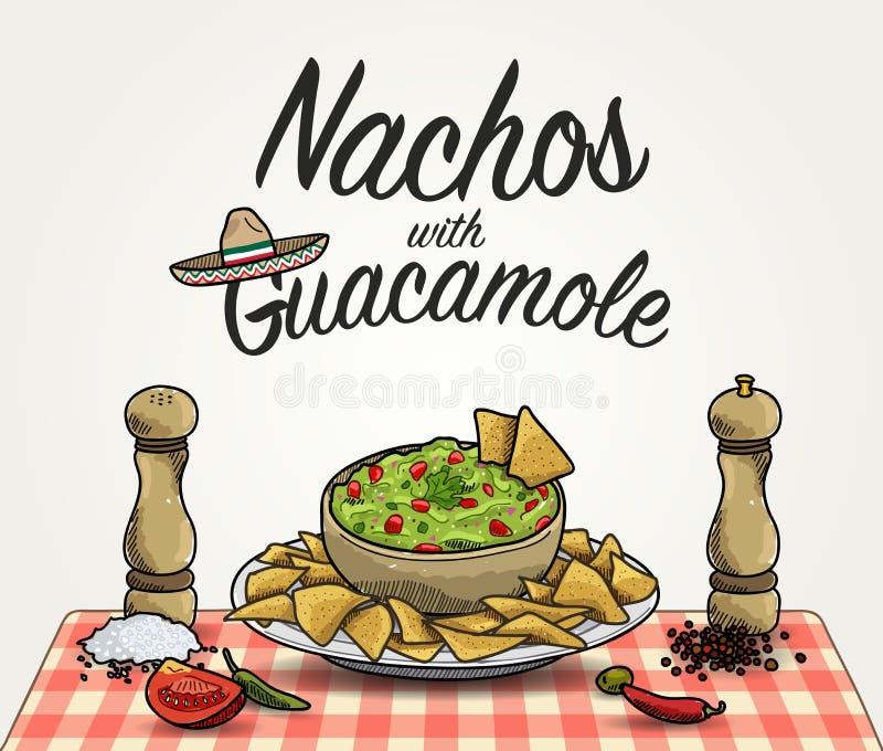 Nachos with Guacamole stock illustration
