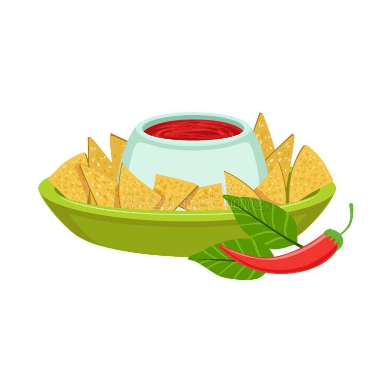NAchos med för kokkonstmaträtt för kryddigt dopp det traditionella mexicanska objektet för mat från illustration för kafémenyvekt royaltyfri illustrationer