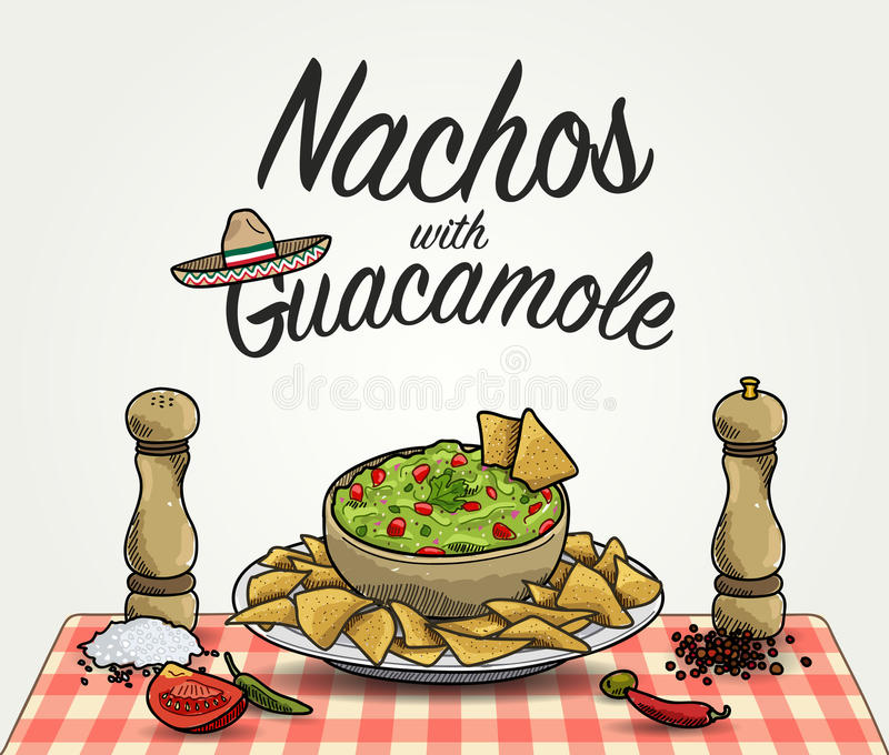 Nachos med guacamole stock illustrationer